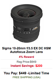 Sigma 10-20mm f:3.5 EX DC HSM Autofocus Zoom Lens sale