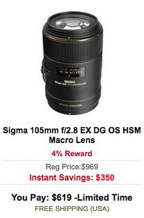 Sigma 105mm f:2.8 EX DG OS HSM Macro Lens sale