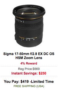 Sigma 17-50mm f:2.8 EX DC OS HSM Zoom Lens sale