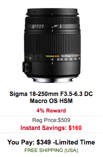 Sigma 18-250mm F3.5-6.3 DC Macro OS HSM lens sale
