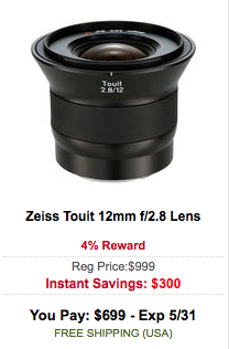 Zeiss Touit 12mm f:2.8 Lens