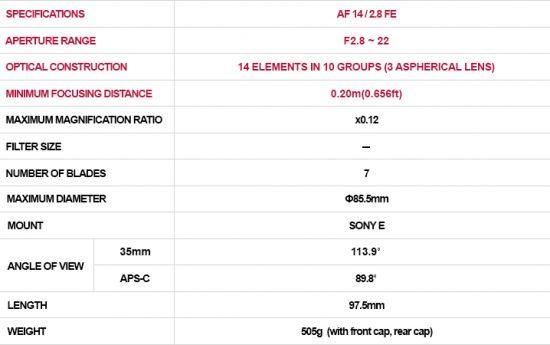 Samyang AF 14:2.8 FE lens technical specs