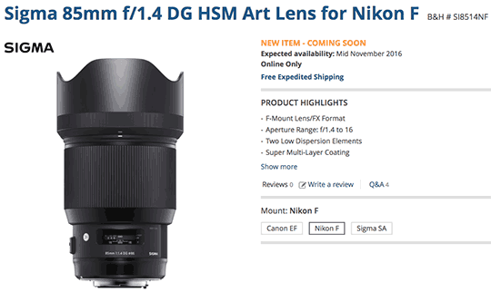 sigma-85mm-f1-4-dg-hsm-art-lens-shipping-date