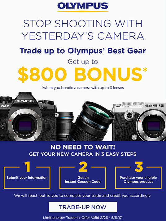 The new Olympus trade-in promotion includes the Olympus PEN-F, E-M1 Mark II cameras and three lenses