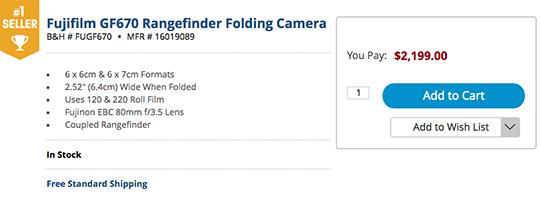 Fuji GF670 medium format film rangefinder folding camera now in – Stock List Format