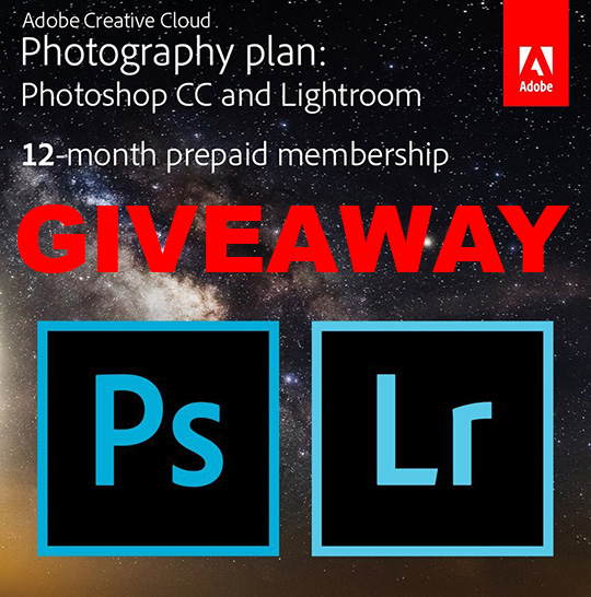 Giveaway: one year of Adobe Creative Cloud Photography membership