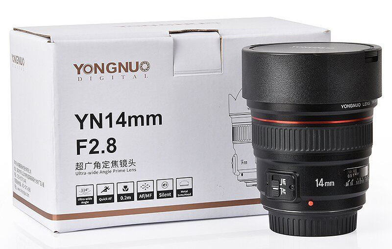 The new Yongnuo YN 14mm f/2.8 ultra-wide lens is priced around $500 ...