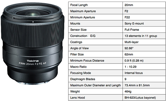 Announced: Tokina FíRIN 20mm f/2 FE AF lens for full-frame Sony E ...