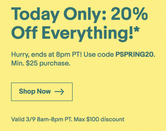 20% off eBay coupon today only