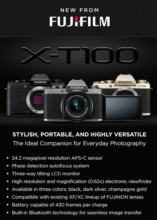 Fuji X-T100 mirrorless camera announced, priced at $599