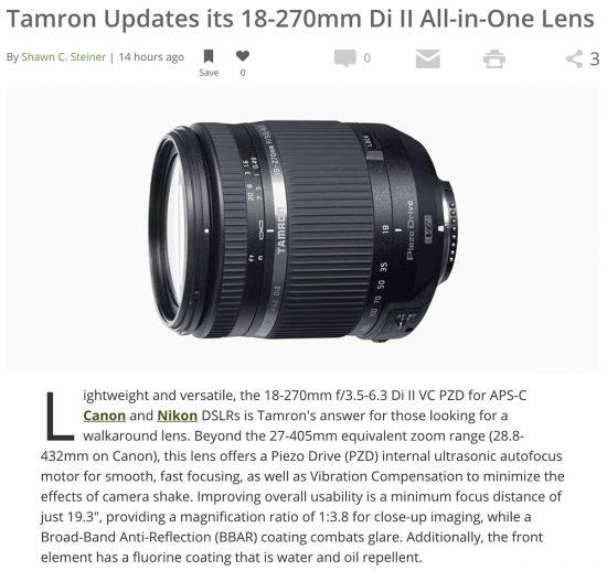 Tamron updates its 18-270mm f/3.5-6.3 Di II VC PZD lens