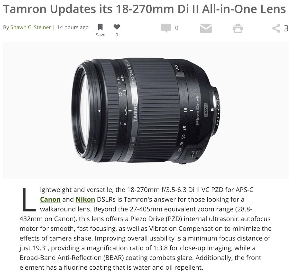 Tamron updates its 18-270mm f/3.5-6.3 Di II VC PZD lens - Photo Rumors