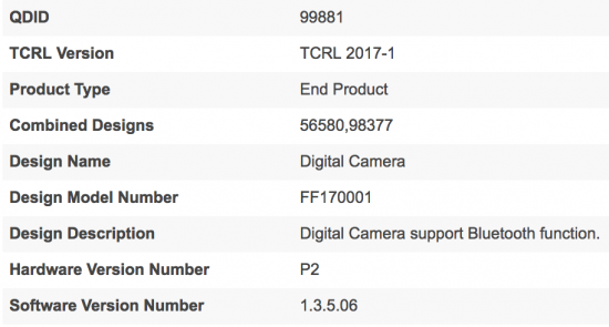 New Fuji camera registered online (FF180004)