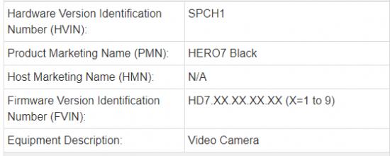 New GoPro Hero7 Black camera registered online