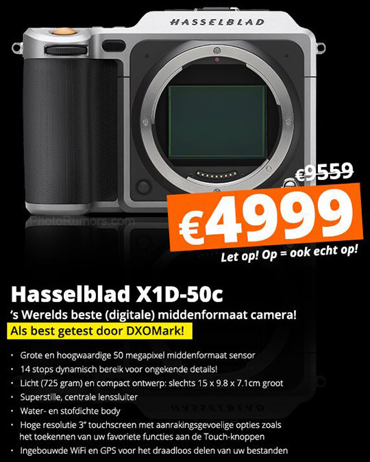 Huge price drop for the Hasselblad X1D medium format mirrorless camera in Europe