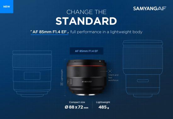 Samyang AF 85mm f/1.4 EF lens for Canon EF mount coming next