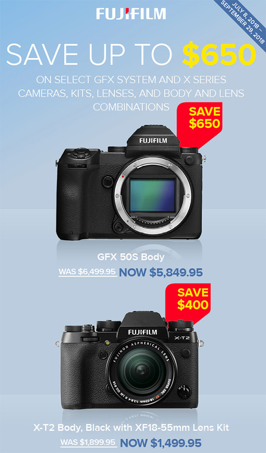 New Fujifilm rebates in the US
