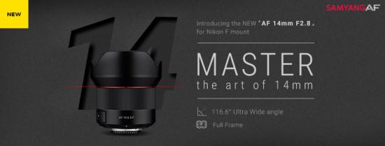 Samyang AF 14mm f/2.8 F lens for Nikon F-mount announced