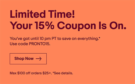Deal of the day: 15% off eBay coupon code (up to $100)
