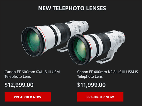 Canon EF 400mm f/2.8L and 600mm f/4L IS III lenses now available for pre-order