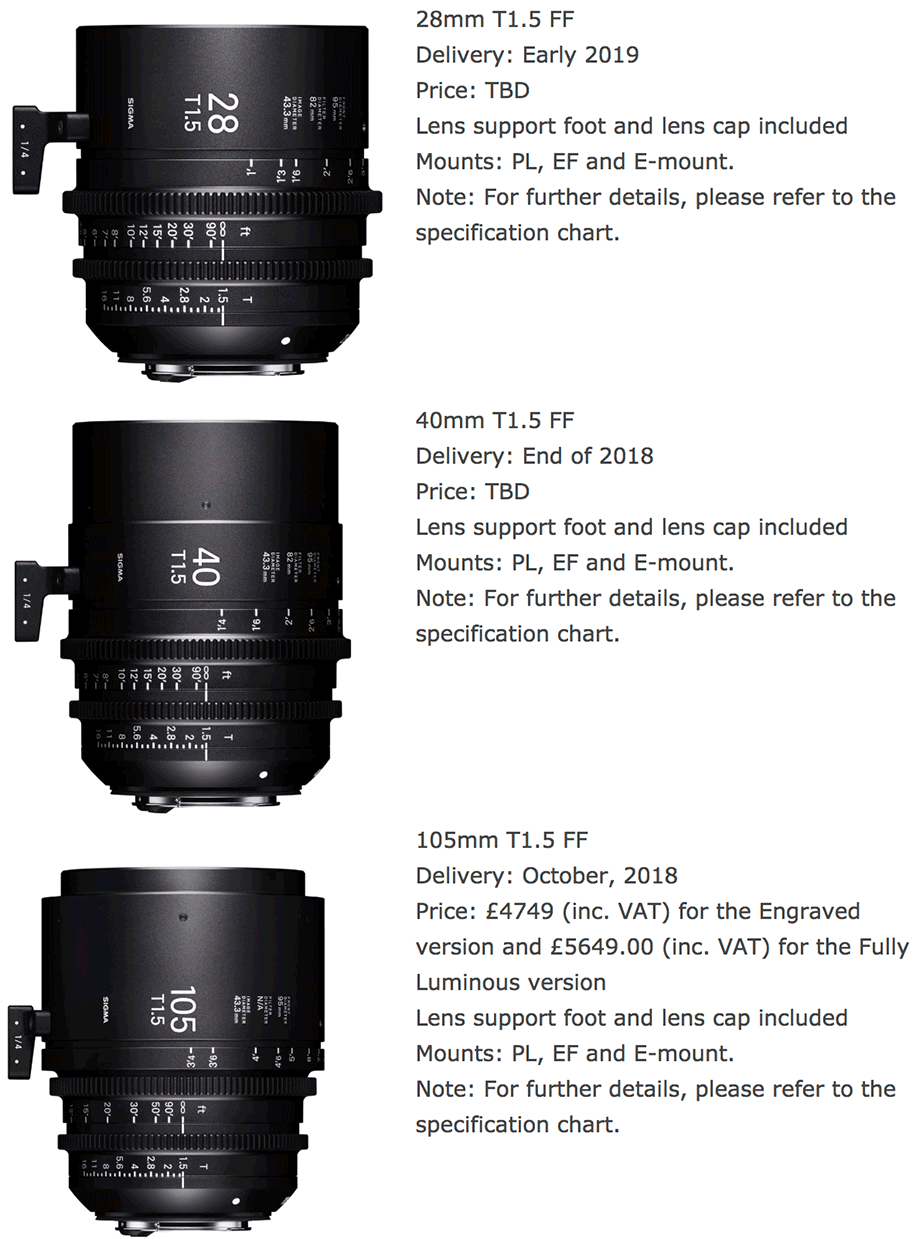 Sigma announces three new cinema lenses