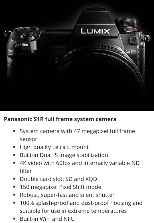 Panasonic S1R full frame system camera specifications: with a variable ND filter?
