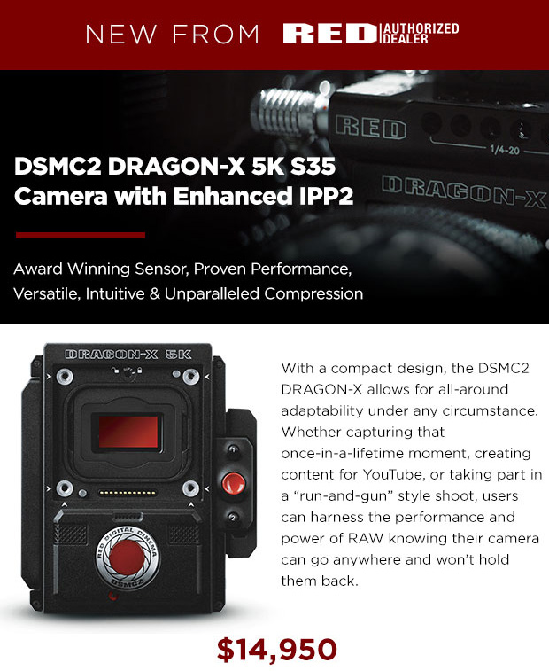 New from RED: the DSMC2 DRAGON-X 5K S35 camera