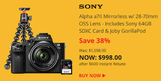 Deal of the day: Sony a7II with 28-70mm lens and free accessories under $1,000
