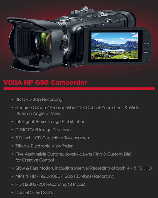 New Canon Vixia G50 4K camcorder with 20x optical zoom announced