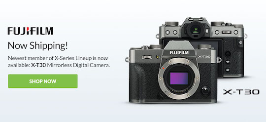 Fujifilm X-T30 camera now shipping, currently in stock (manual available online)