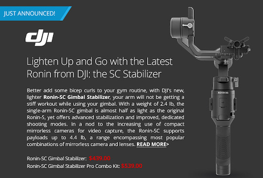 DJI Ronin-SC gimbal stabilizer for mirrorless cameras officially announced