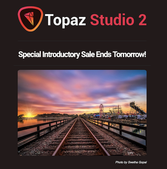Ends tomorrow: Topaz Studio 2 released with $20 off discount