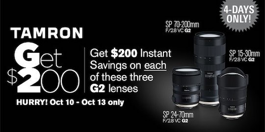 New Tamron lens rebates coming on the 15-30mm f/2.8, 24-70mm f/2.8 and 70-200mm f/2.8 lenses (VC G2)