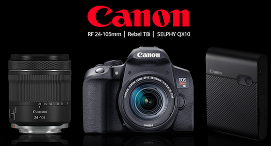 Canon announces RF 24-105mm lens, EOS Rebel T8i DSLR camera, and SELPHY QX10 compact printer