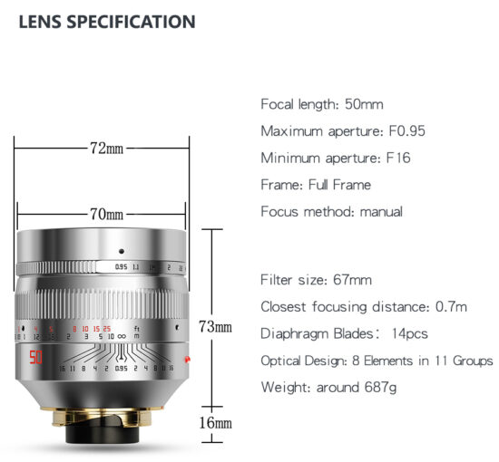 Silver TTartisan 50mm f/0.95 lens for Leica M-mount announced, available for pre-order