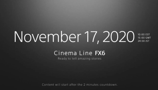 Sony FX6 cinema camera coming on November 17