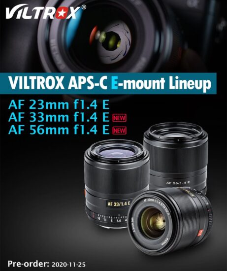 The Viltrox 33mm f/1.4 E and 56mm f/1.4 E lenses will be released on November 25