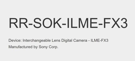 New Sony FX3 Cinema E-mount camera registered at FCC