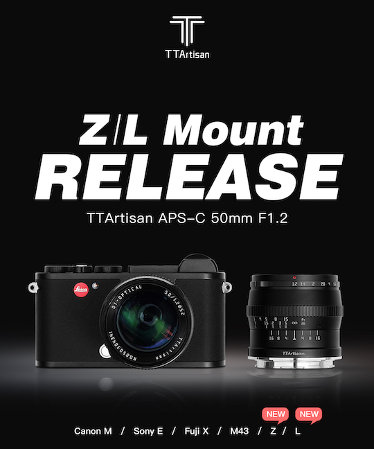The TTartisan 50mm f/1.2 lens is now available for Nikon Z and Leica L mounts