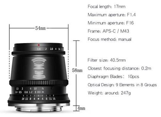 TTartisan 17mm f/1.4 APS-C mirrorless lens for E/EOS-M/X/M43 mount officially announced
