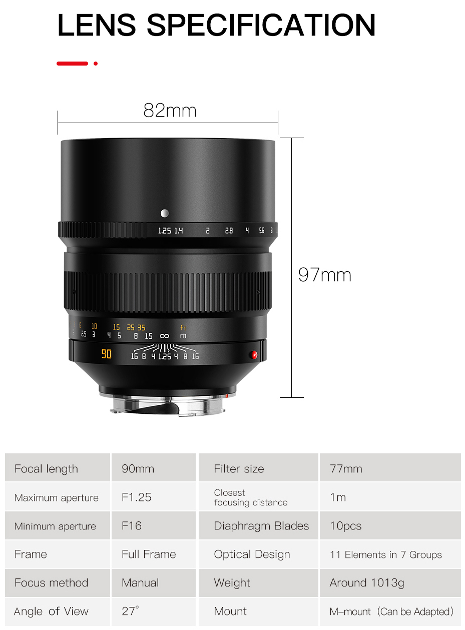 Announced: new TTartisan 90mm f/1.25 lens for Leica M-mount, available for pre-order