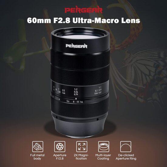 Just announced: Pergear 60mm f/2.8 ultra-macro 2X magnification mirrorless lens (Fuji, Sony, MFT, and Nikon)