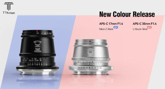 New TTartisan APS-C lenses: 17mm f/1.4 black (Z-mount), 35mm f/1.4 silver (L-mount), and 40mm f/2.8 Macro